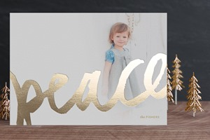 Minted Christmas Card Brushed Gold Foil
